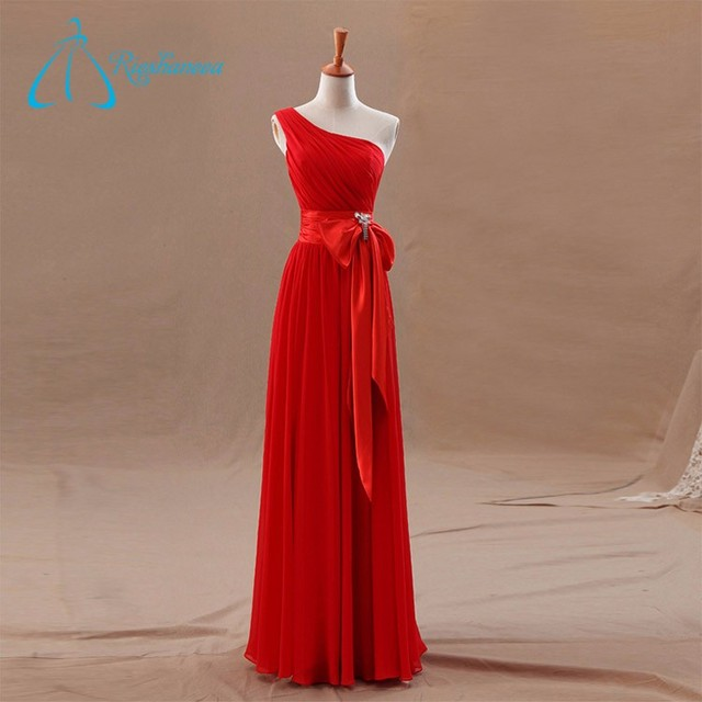 Plus Size Floor-Length One Shoulder Red Dress For Bridesmaid