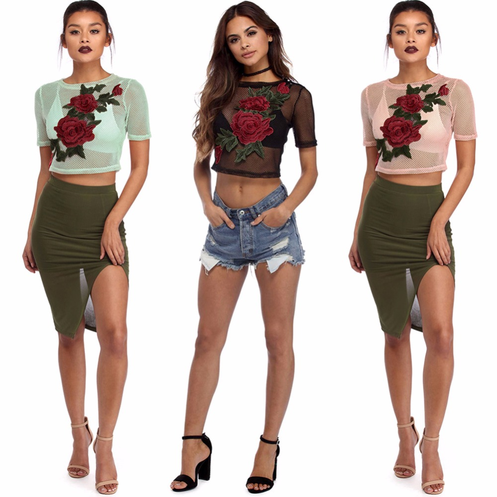 New Design Short Sleeve Round Neck Rose Embroidered Mesh Crop Top Sexy Organza See-Through Blouse
