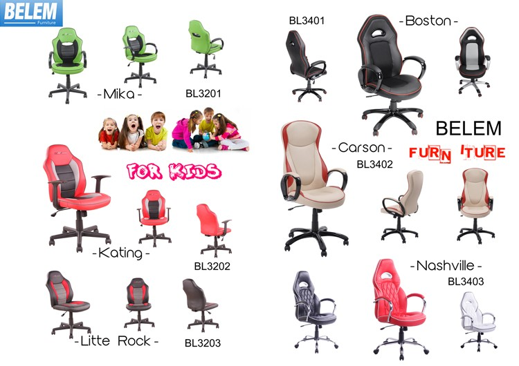 Free Sample Cheap Swivel PU Leather Office Game Racing Chair with Ajustable Armrest and Backrest-Sola-BL7508