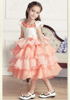 Back To School High Quality Layered Princess Dress Girls Party Wear Sweet Party Dress