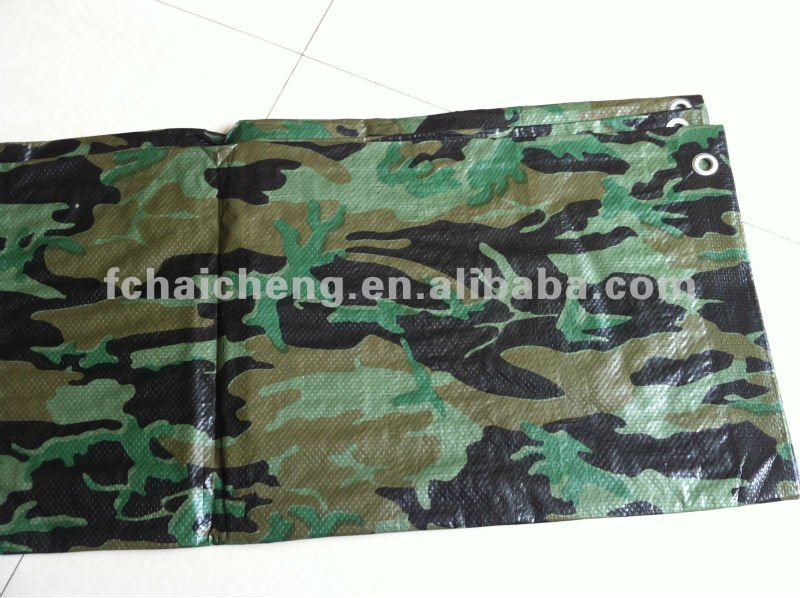 printed camouflage reinforced plastic ground sheet hdpe tarpaulin