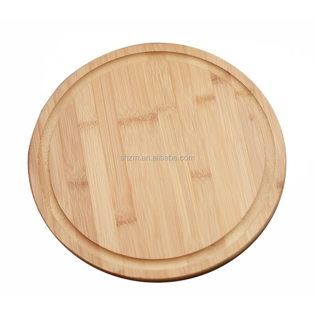 Wholesale Round Bamboo Serving Board w/Groove12 inches Healthy Bamboo Cutting Board Chopping Hot Board for Serving Function Tray