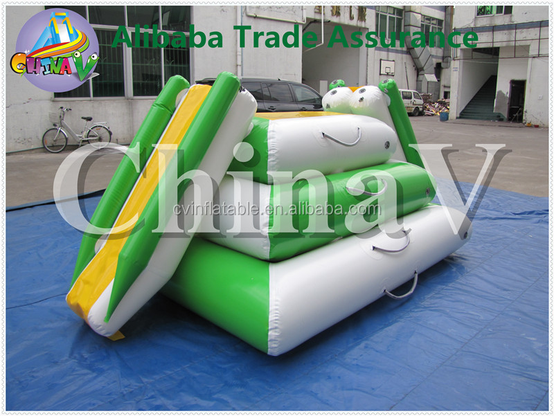 inflatable floating climbing wall slide