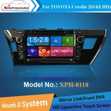 HD Capacitive touch screen double din gps for TOYOTA Corolla 2014 left hand car dvd player