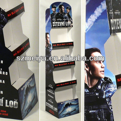 Top movies floor standing cardboard display for cd dvd