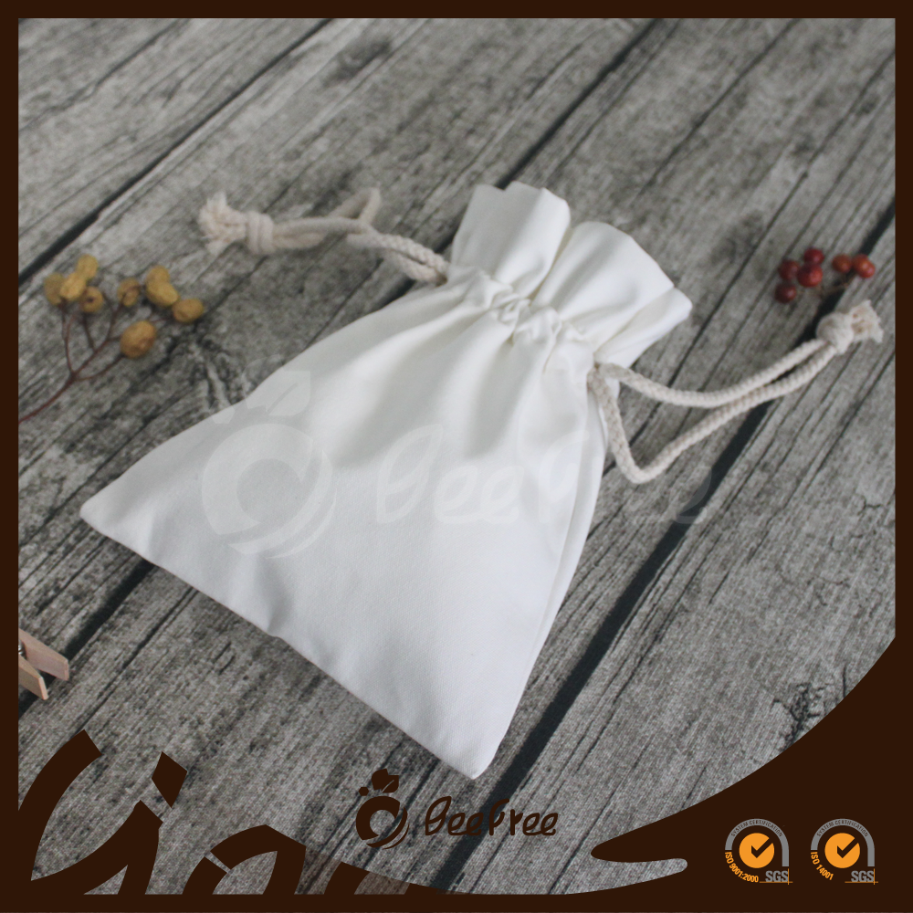 Wholesale Handmade Gift Pouch, Small White Canvas Drawstring Pouch
