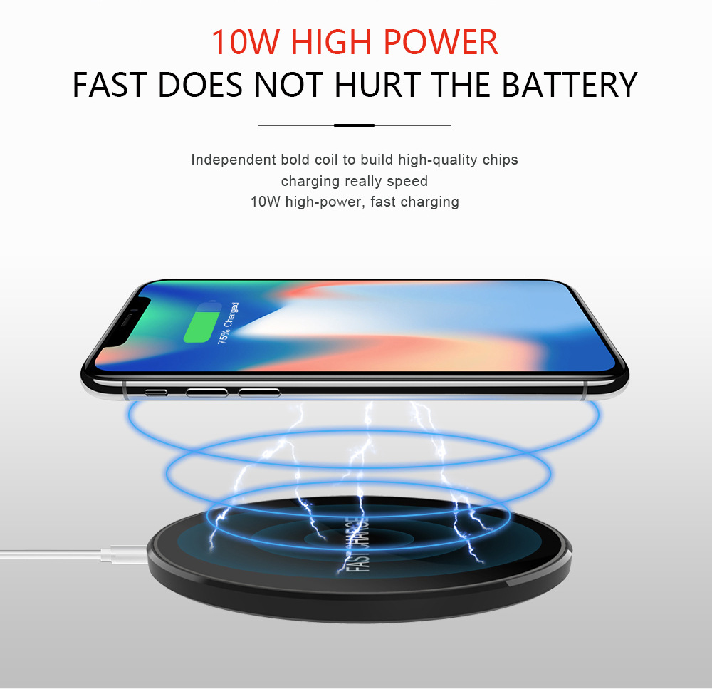 2018 Amazon Hot Sell Custom led light fit all phone QI fast wireless charger