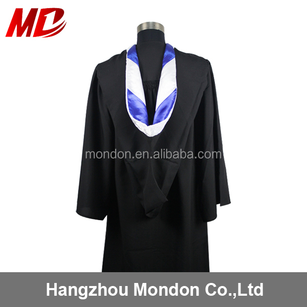 Matt Polyester Classic Black Academic bachelor Cap Gowns with hood for Graduation