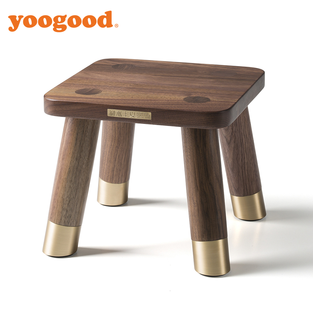 Yoogood High Quality Black Walunt Solid Wood Stool For Kids And Adult