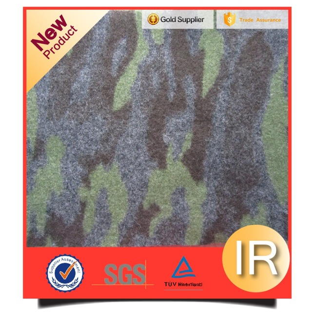 Heavy wool coat fabric camouflage bonded polyester wool fabric