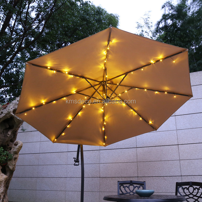 IP44 outdoor use battery operated 64LED parasol umbrella string lights