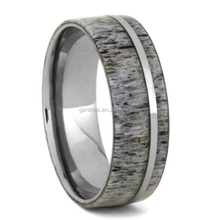 Gentdes Natural Deer Antler <strong>Ring</strong>, Comfort Fit Deer Antler Inlay Polished Titanium <strong>Ring</strong>