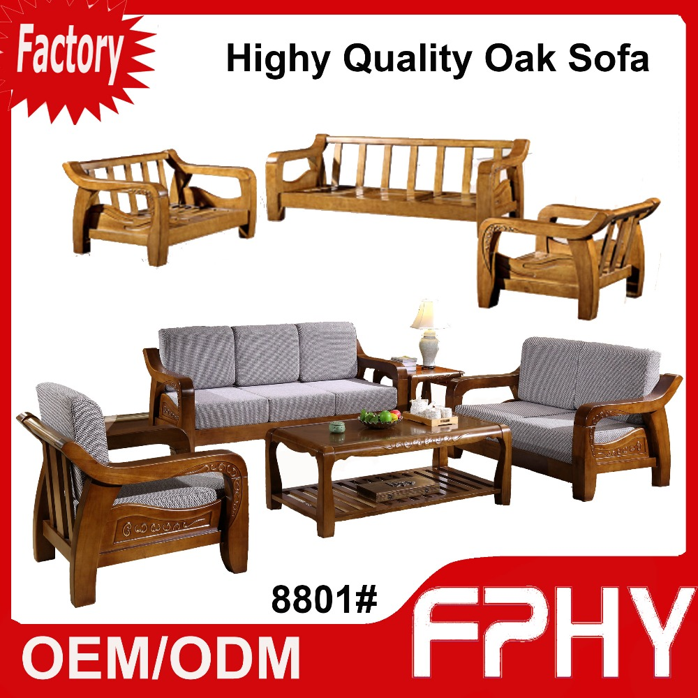 FPHY 8801# Oak Solid Wood Frame fabrics Cushion Sectional 3 2 1 seat simple design sofa set