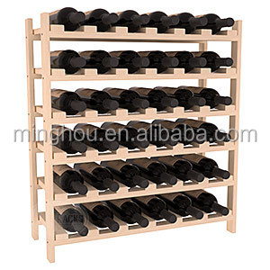 Stackable Wine Rack Shelves Wine Stand Pine Wooden Drink Holder Storage 4Bottles