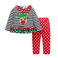 Children autumn christmas outfits baby girl moose striped t-shirt with polka dot long pants 2pcs suits