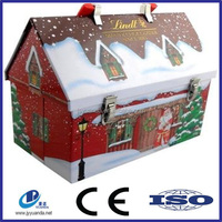 Roof shape rectangle metal tin box for Christmas gifts/ roof shaped tin can
