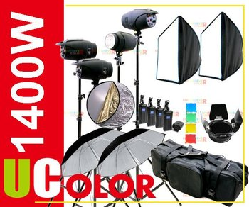 1400W Strobe Studio Flash Light Kit Lighting Photography Fan Cooled Set