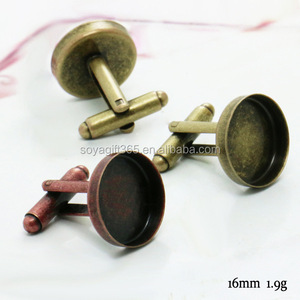 16mm Antique Red Bronze Round Blank Cufflink Base For Glass Cabochon Bezel Setting