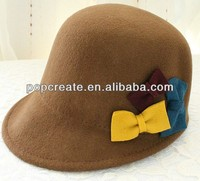 2014 Fashion rounding brown wool felt hat with bowknot