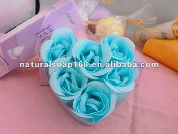 paper rose blue flower paper soap