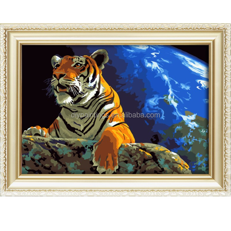 2016 new arrival animal oil painting of tiger looked up at the stars for home decor