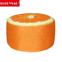 Popular fruit design orange round ottoman lounge seat bean bag chair