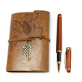 Vintage Colorful Embossed Refillable A5 Leather Notebook and Pen Set