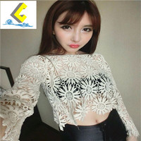 2017 summer Newest fashion Sweet Hollow Shirt short Sleeve Stitching Lace Blouse Female Sexy Women tops 81H-A9 30