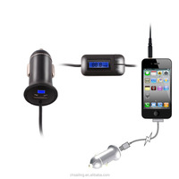 Car usb charger 3.5mm aux audio cable FM Transmitter with LCD