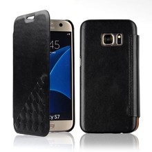 C&T Luxury Black Genuine Real Leather Folio Flip Wallet Case for Samsung Galaxy S7