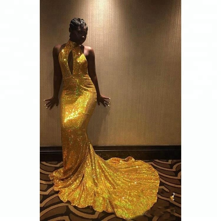 2018 South African Prom Dresses Mermaid Sparkly Gold Sequined High