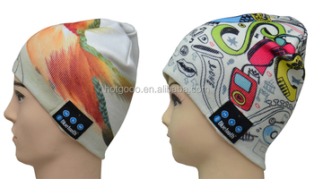 heat tranfer printing hat bluetooth/ wireless bluetooth headphone beanie hat