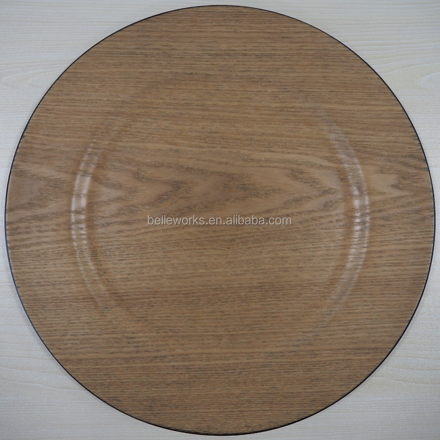 Decorative veneer wood charger plates wholesale