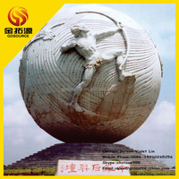 steel structure large relief stone ball stone sphere sculpture