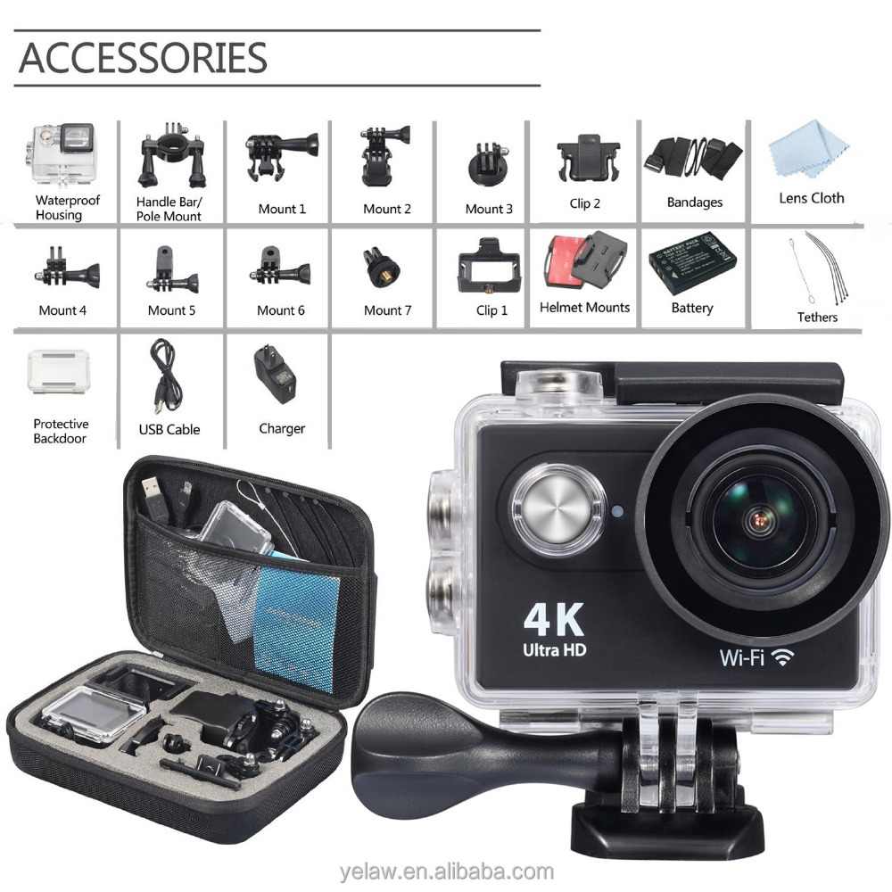 Ultra-clear 2.0inch LCD Display OEM Action Camera Wateroof 4K WIFI For Outdoor Activity