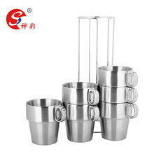 promotional mugs stainless steel custom tea cups with stand