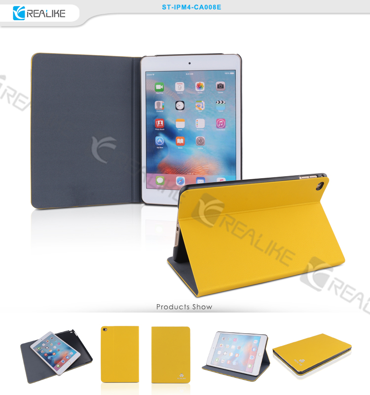 Smooth pu stand cover case smart leather for ipad mini 4, accept OEM