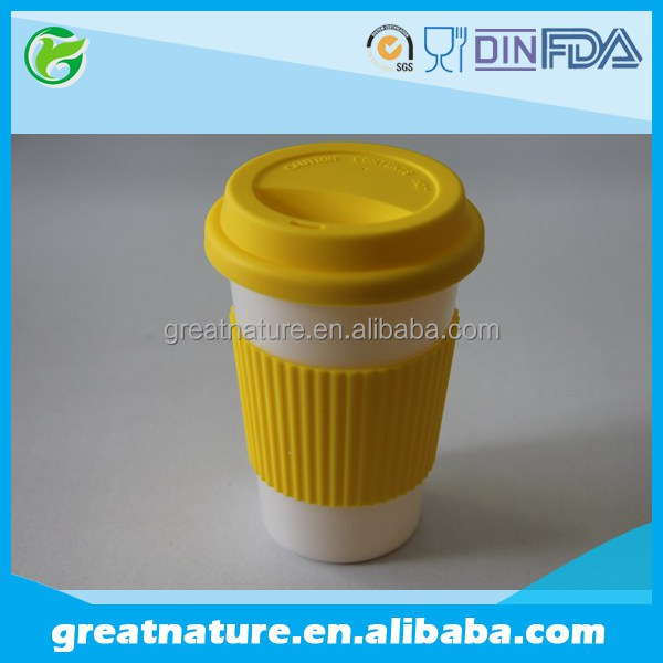 PLA biodegradable cup with silicone grips and lid