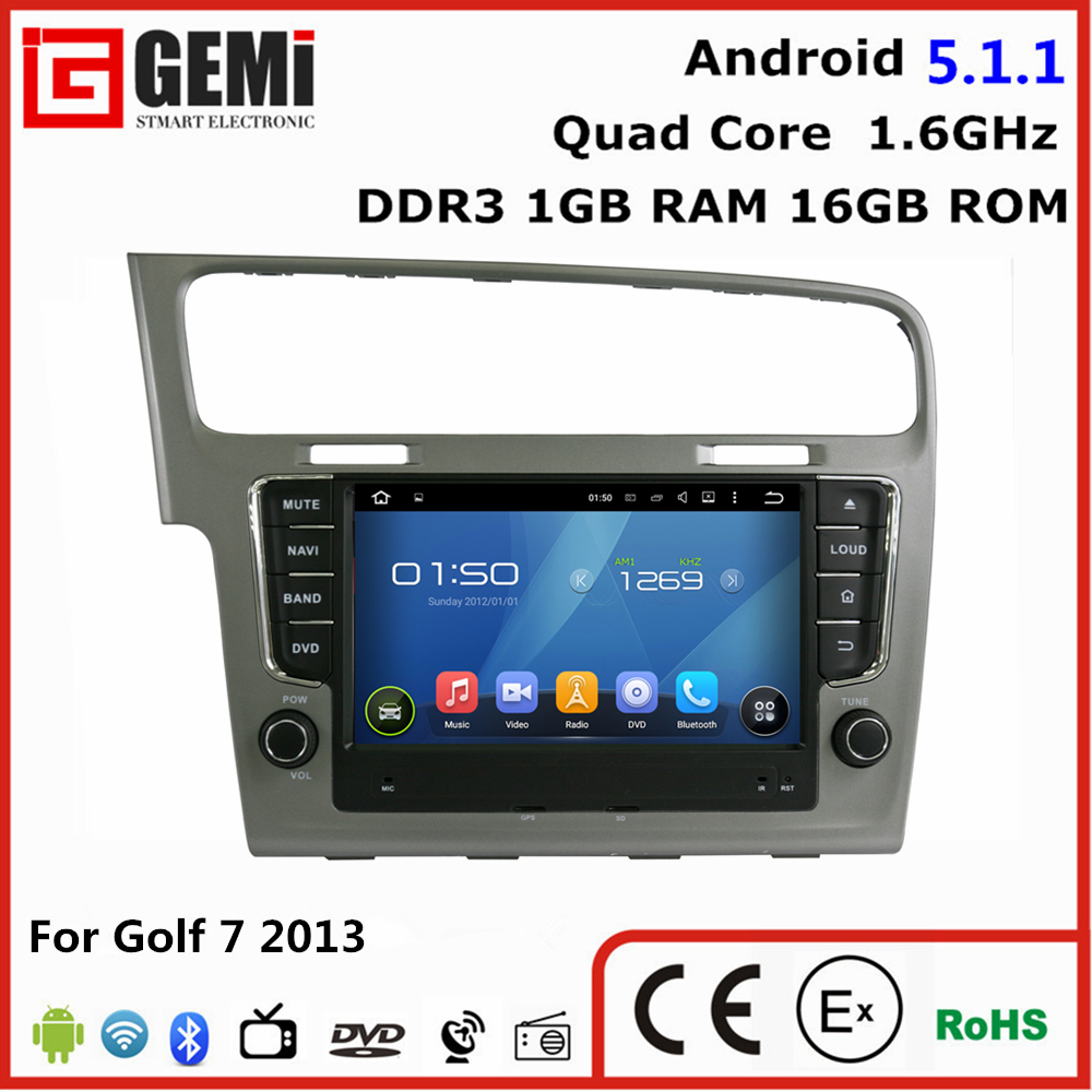 Facotry 1024*600 VW Golf 7 double din car multimedia car dvd player GPS with WiFi FMAM Radio