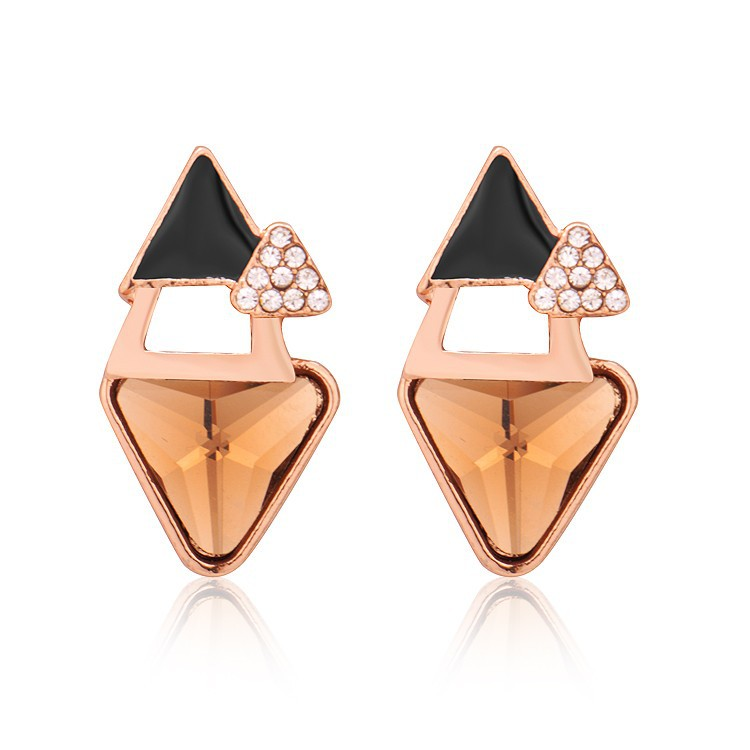 Austrian Top Grade Women Triangle Crystal Vintage Rose Gold And Platinum Plated Stud Earrings