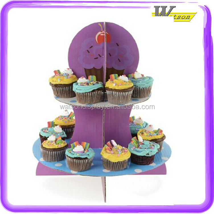 Hot Selling 2 tier Purple Cherry 3 tiers paper cupcake stand for retail stores supermarket cardboard cupcake stand