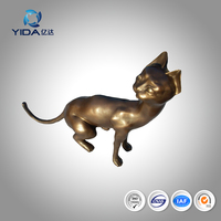 Casting Bronze Cat Sculpture Antique Brass Animal Garden Cat Statue