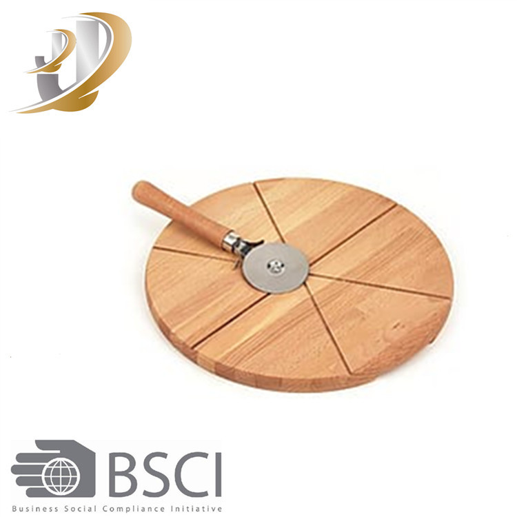 Rubber wood Round Pizza Cutting Serving Boards