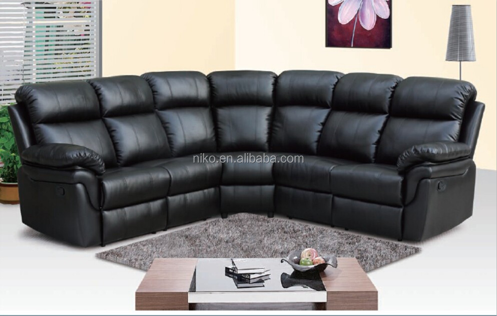 American style Comfortable leather sectional sofa set , modern reclining living room sofa furniture(MK6011)