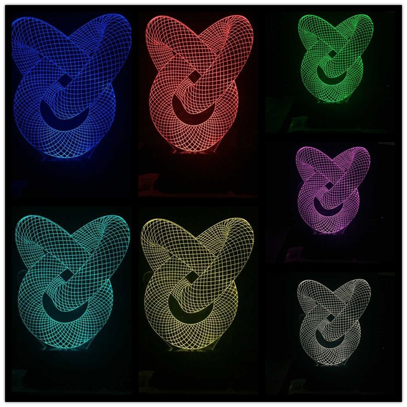 Zogift 3d Night Lamp Colorful Shark Shape Touch Control Light 7 Colors Change USB LED for Desk Table with Multicolored