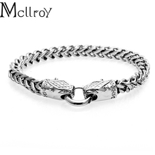 Mcllroy Best Seller Alibaba Factory Price Hip Hop Jewelry Snake Clasp Cuban Chain 316L Titanium Steel Bracelet