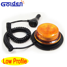 Low profile rotary warning led beacon light with magnetic base