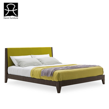 2016 latest bed design solid wood frame upholstered double size beds
