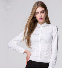 Wholesale latest fashion office ladies white quality women office wear shirts