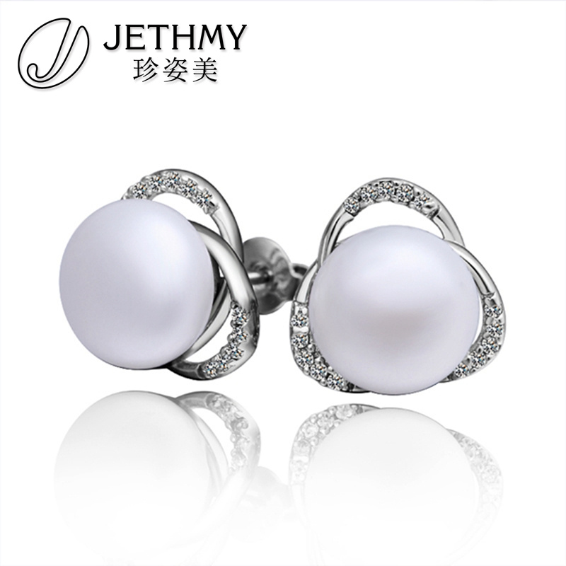 Wholesale european style jewelry fashion wgold plated pearl earrings for women